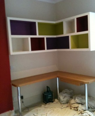 Shelving unit in children's bedroom, Putney (painting finished)