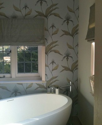 New wallpapering in bathroom