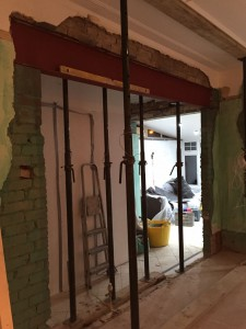 Wall coming down for new kitchen