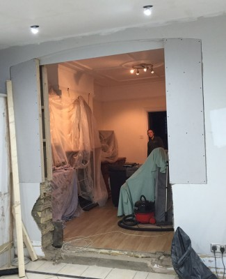 Wall being blocked up and ready for plastering