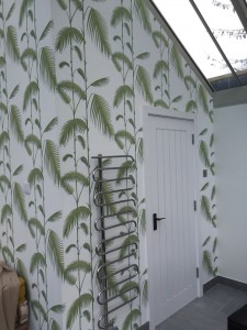 New wallpapering in conservatory