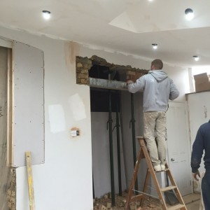 Kitchen refurbishment: lintel being fitted