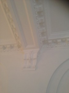 Cornice painting finished, old bank conversion