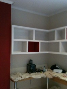 Shelving unit in children's bedroom, Putney (painting in progress)
