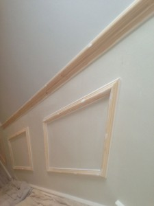 New paneling on staircase before painting, Barnes