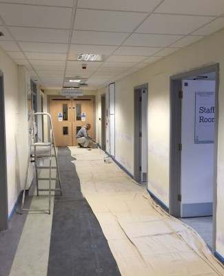 Corridor prepped for painting, Royal Marsden Hospital