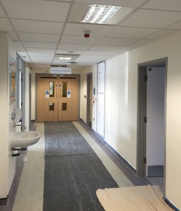 Corridor after painting, Royal Marsden Hospital