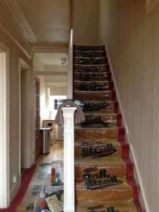 Wallpaper removal, re-plastering, fitting of dado rail and full painting of house interior and stairway (Before), Tooting