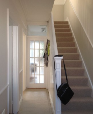 Wallpaper removal, re-plastering, fitting of dado rail and full painting of house interior and stairway (After), Tooting