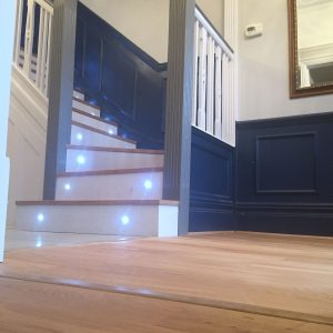Stairway remodelling: carpet removal, new oak flooring installation, led lighting installation