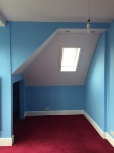 Loft conversion painting showing detail