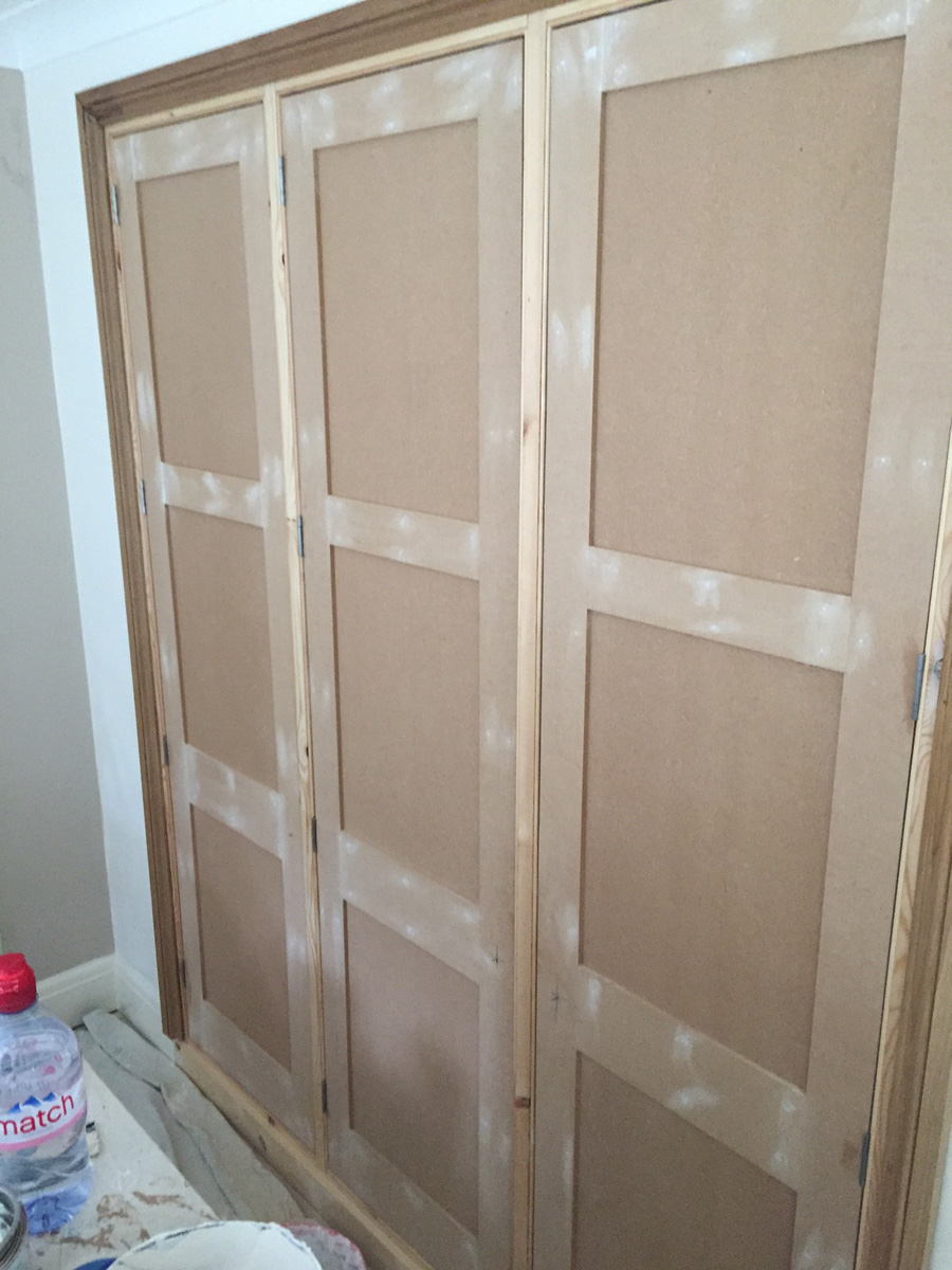 New MDF wardrobes built and painted (during)