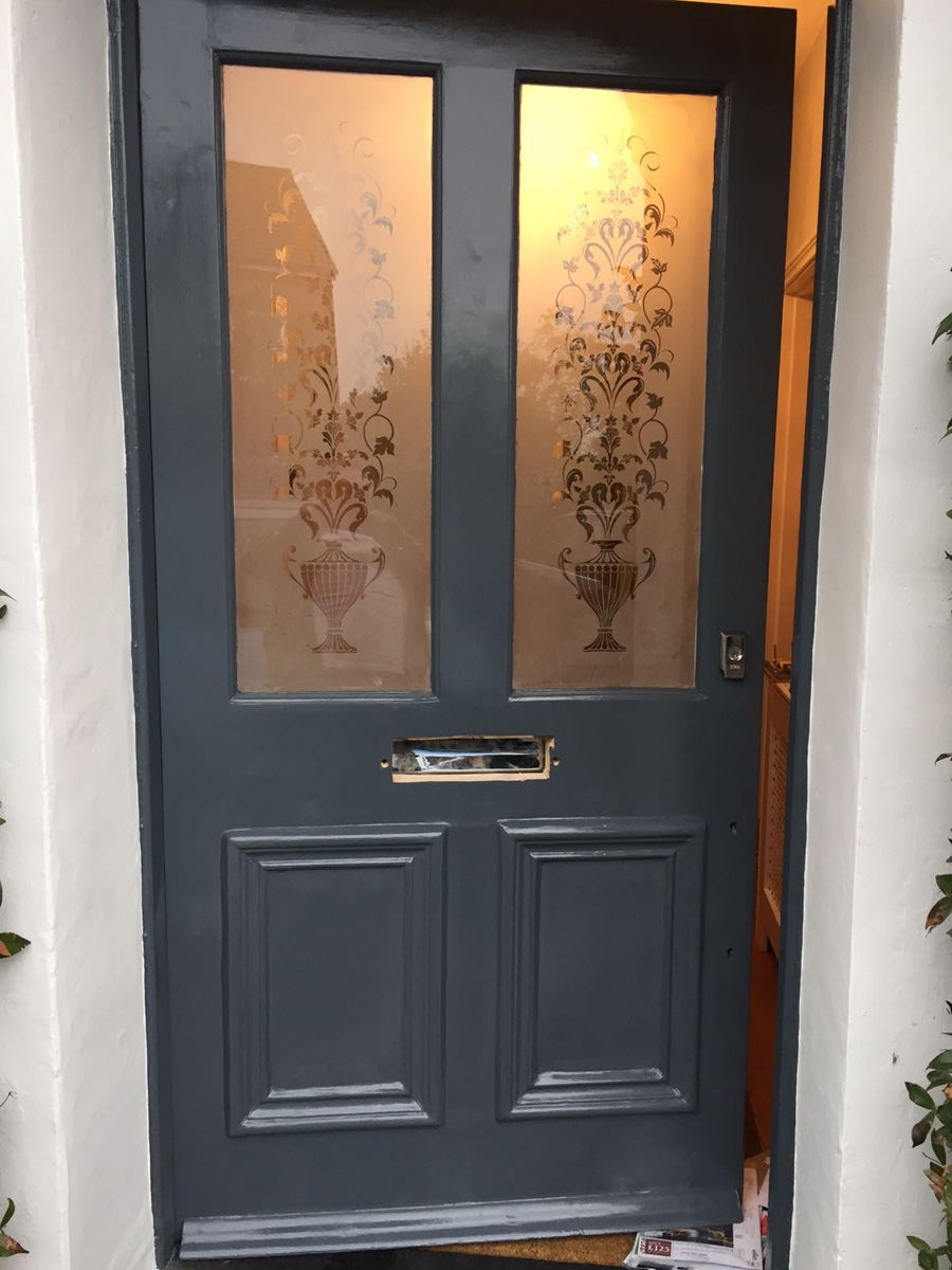 Exterior door during painting