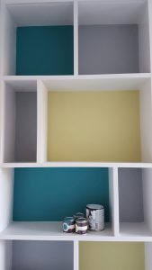 Shelves painted with Farrow & Ball paints